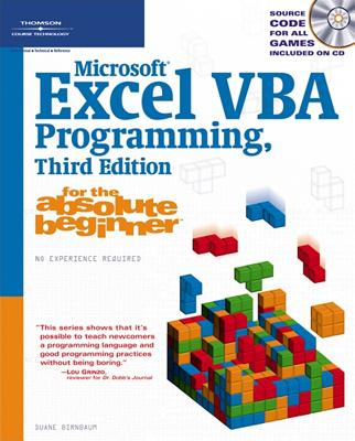 Microsoft Excel Vba Programming, for the Absolute Beginner By Birnbaum, Duane